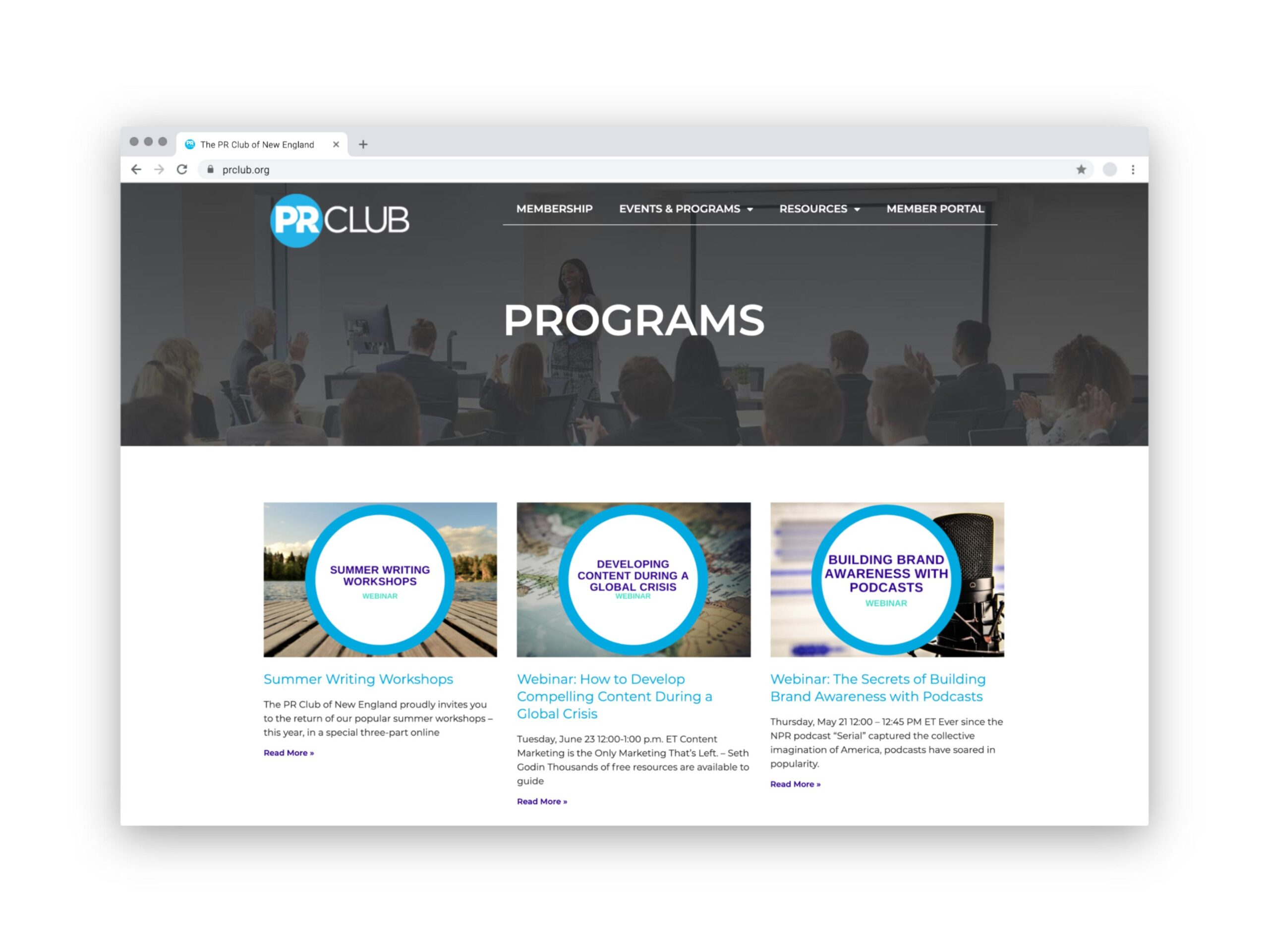 PR Club Website